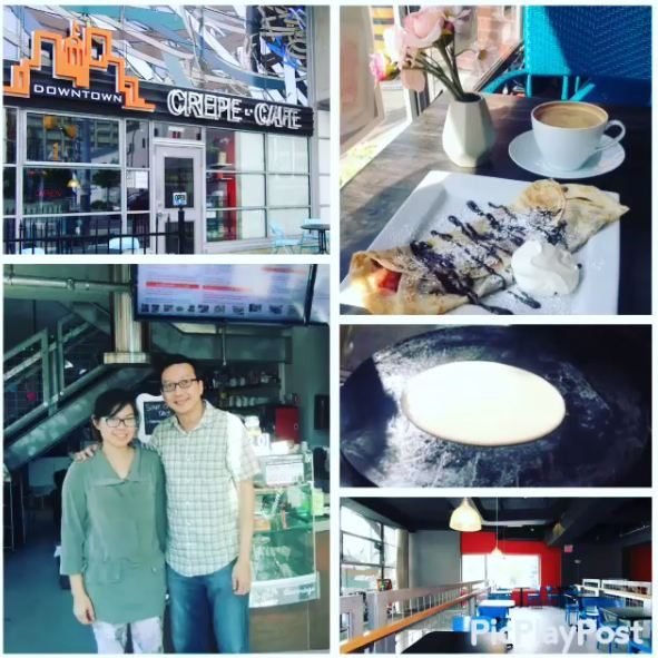 photo of crepe cafe shop and staff