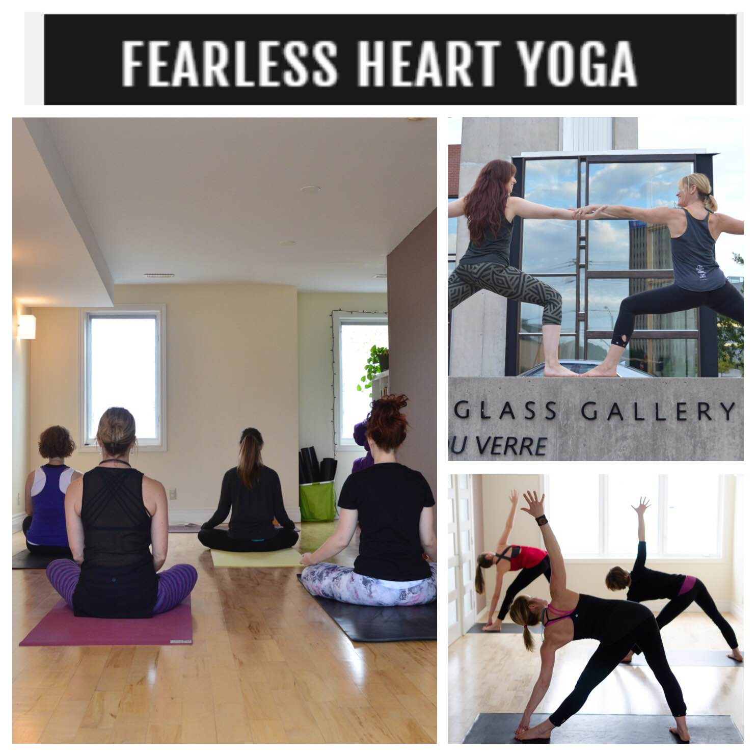 collage of yoga participants in a studio
