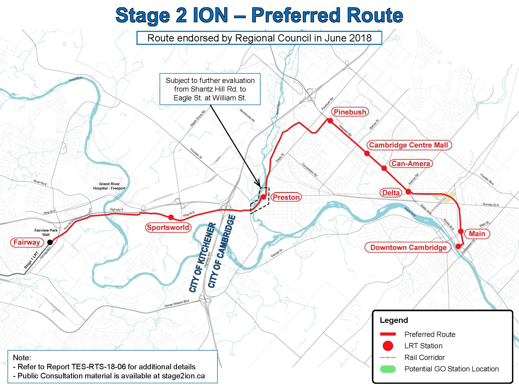 Map showing the Stage 2 ION route